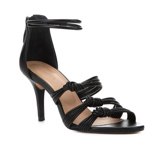 Sandália Couro Shoestock Salto Alto Tiras Feminina - Preto