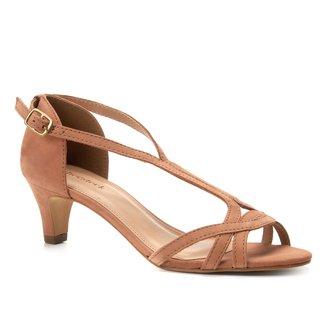 Sandália Couro Shoestock Salto Baixo Nobuck Feminina