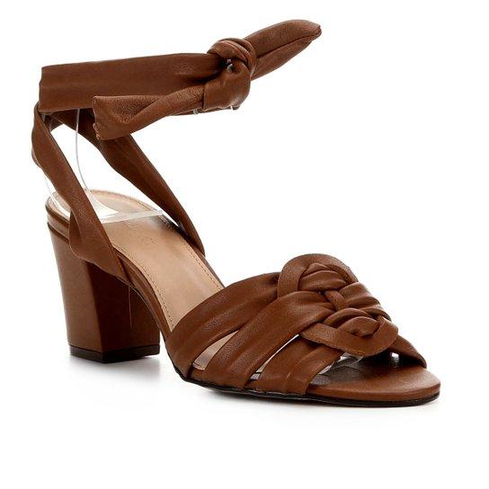 Sandália Couro Shoestock Salto Bloco Amarração Feminina - Marrom Claro