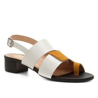 Sandália Couro Shoestock Salto Bloco Color Mix Feminina