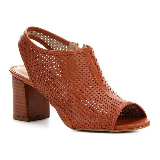 Sandália Couro Shoestock Salto Bloco Feminina - Caramelo