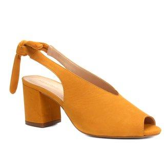 Sandália Couro Shoestock Salto Bloco High Vamp Feminina