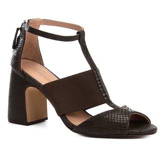 Sandália Couro Shoestock Salto Bloco Snake Feminina