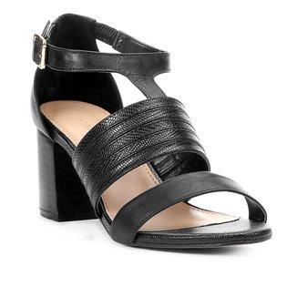 Sandália Couro Shoestock Salto Bloco Straps Feminina