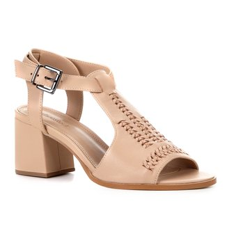Sandália Couro Shoestock Salto Bloco Transpassada Feminina