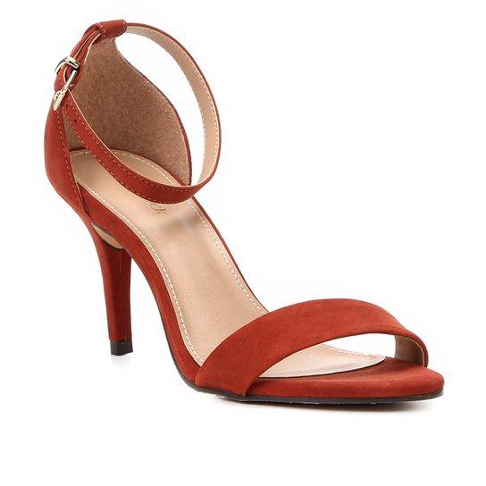 Sandália Couro Shoestock Salto Fino Básica Feminina - Caramelo