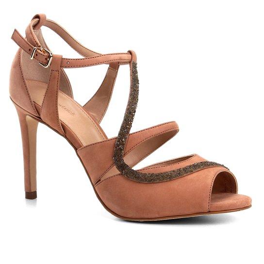 Sandália Couro Shoestock Salto Fino Cristal Feminina - Nude