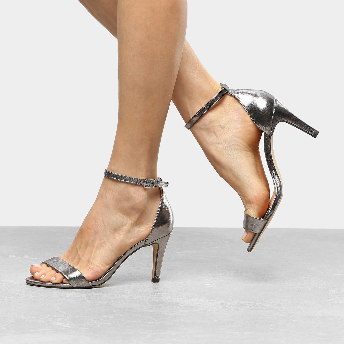 Sandália Couro Shoestock Salto Fino Feminina - Chumbo