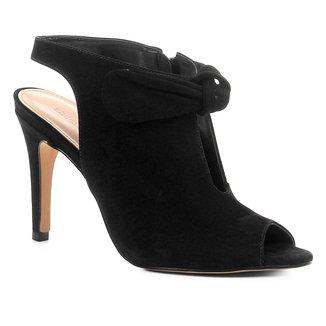 Sandália Couro Shoestock Salto Fino Laço Feminina