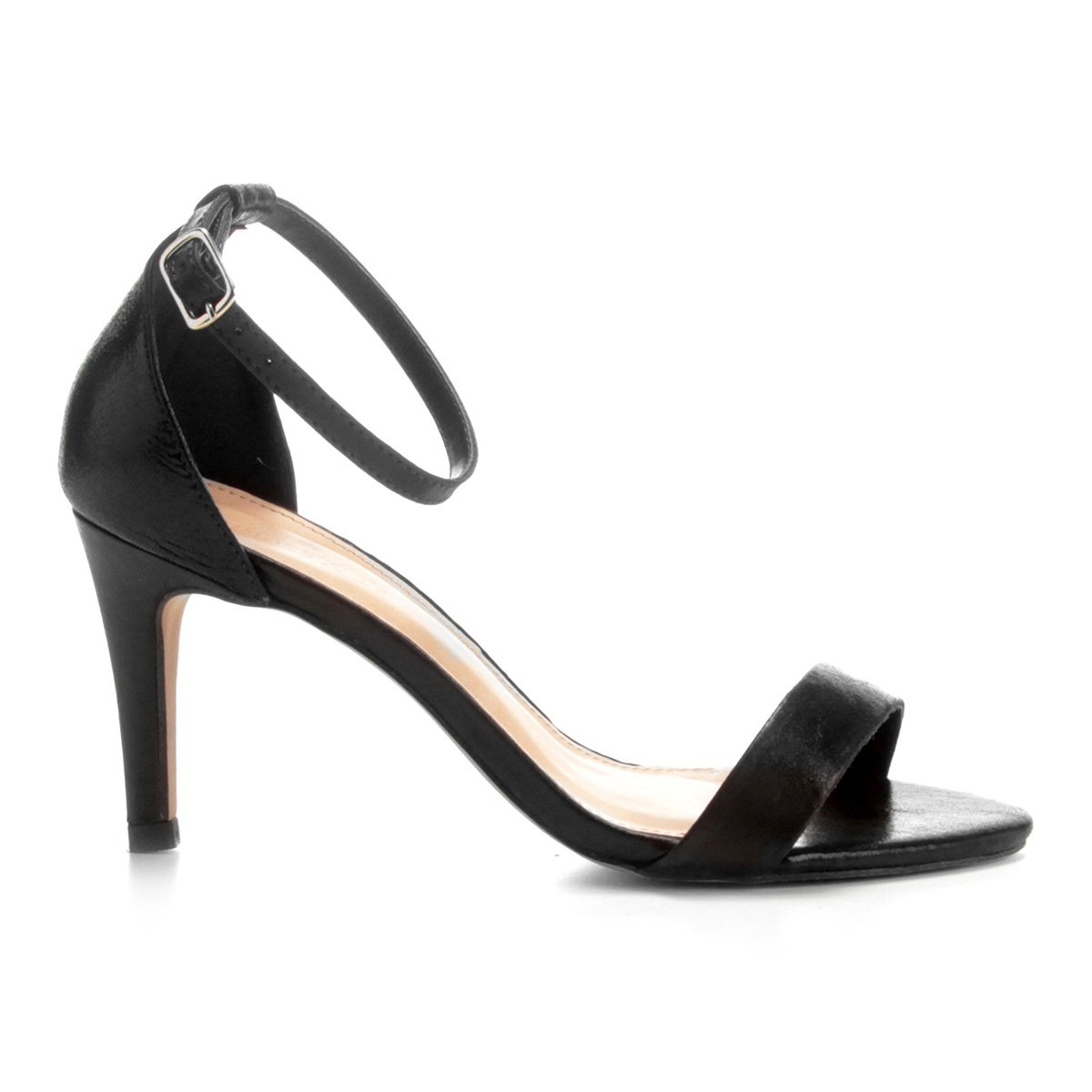 Sandália Sandália Shoestock Fino Feminina Salto Couro Couro Naked Shoestock Preto PPxwqErv4