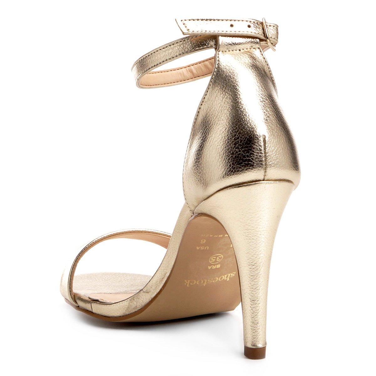 cae213f69f ... Dourado Sandália Shoestock Couro Salto Couro Feminina Sandália Fino  Salto Shoestock Naked Swvtq ...