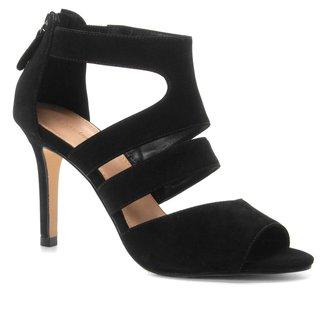 Sandália Couro Shoestock Salto Fino Nobuck Feminina