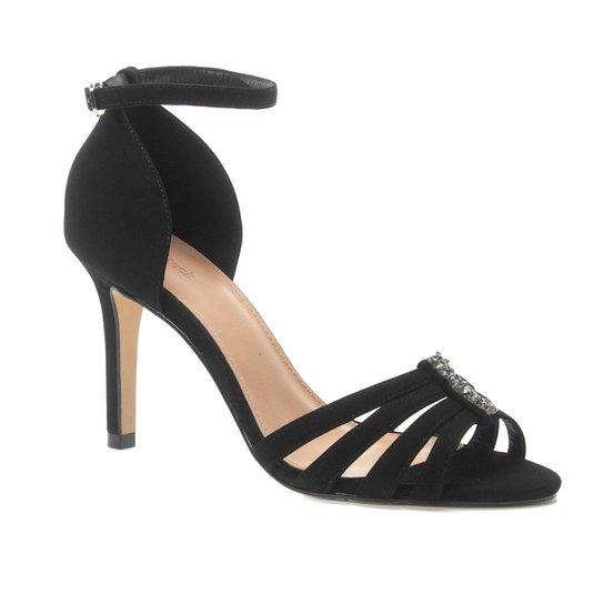 Sandália Couro Shoestock Salto Fino Shine Feminina - Preto