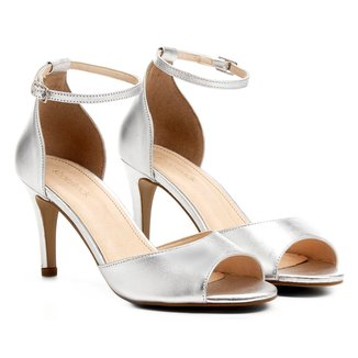 Sandália Couro Shoestock Salto Fino Tornozeleira Feminina