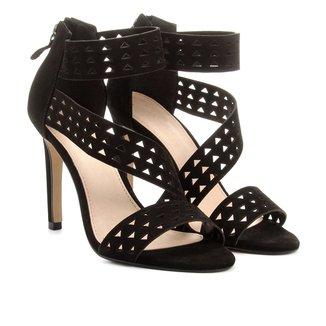 Sandália Couro Shoestock Salto Fino Vazada Feminina