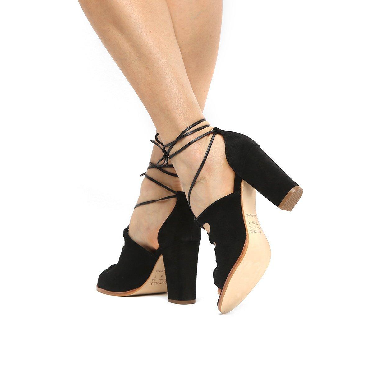 Sandália Amarração Couro Sandália Feminina Couro Preto Shoestock Salto Grosso CWR5xWawq
