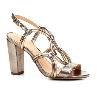 Sandália Couro Shoestock Salto Grosso Bicolor Feminina