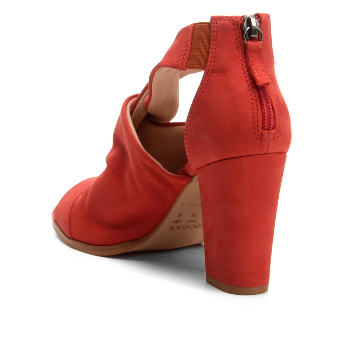 Sandália Shoestock Couro Couro Grosso Salto Entrelace Sandália Grosso Shoestock Feminina Vermelho Salto q4BA1wfxq