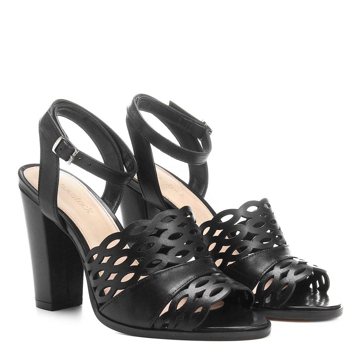 Sandália Shoestock Grosso Laser Preto Salto Couro Feminina Couro Sandália prrfT