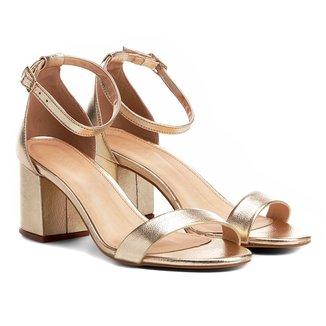 Sandália Couro Shoestock Salto Grosso Metalizada Feminina