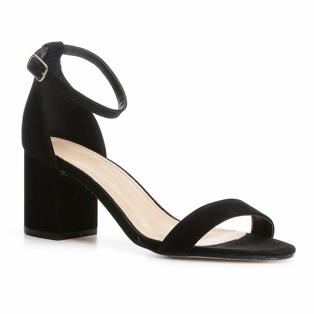 Shoestock Sandália Feminina Sandália Couro Couro Naked Preto Salto Grosso r11tqzn