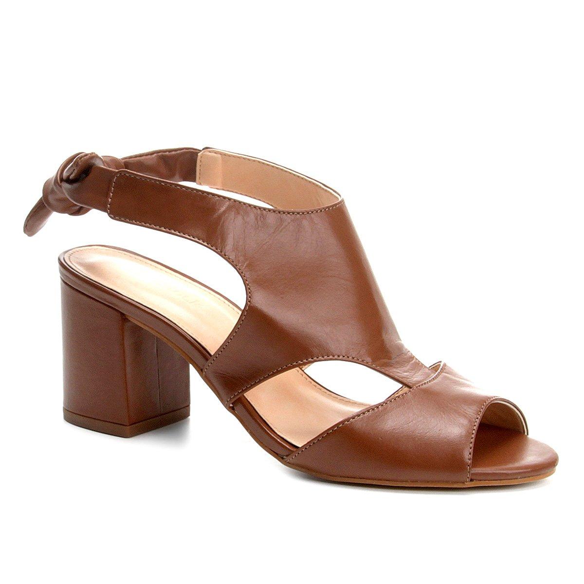 86727593ec Sandália Couro Shoestock Salto Grosso Nó Feminina - Caramelo