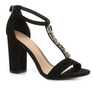 Sandália Couro Shoestock Salto Grosso Pedraria Feminina