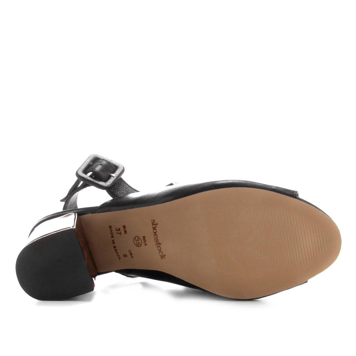 Grosso Shoestock Sandália Feminina Grosso Salto Tartaruga Preto Shoestock Sandália Salto Tartaruga Couro Couro Od6zAq6