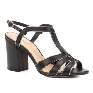 Sandália Couro Shoestock Salto Grosso Tiras Feminina