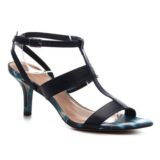 Sandália Couro Shoestock Salto Médio Tie Dye Feminina - Marinho