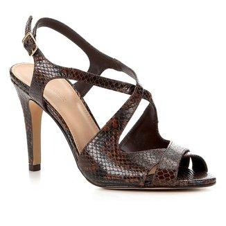 Sandália Couro Shoestock Snake Salto Alto Tiras Feminina