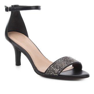 Sandália Couro Shoestock Strass Salto Médio Feminina