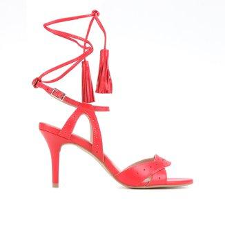 Sandália Couro Shoestock Tassel Salto Alto Feminina