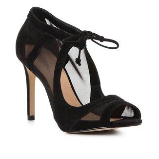 Sandália Couro Shoestock Tela Salto Alto Feminina