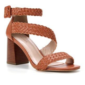 Sandália Couro Shoestock Tressê Salto Bloco Feminina