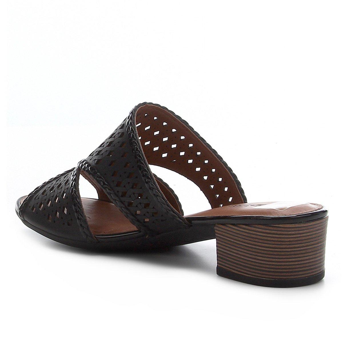Sandália Dakota Laser Salto Baixo Feminina - Preto