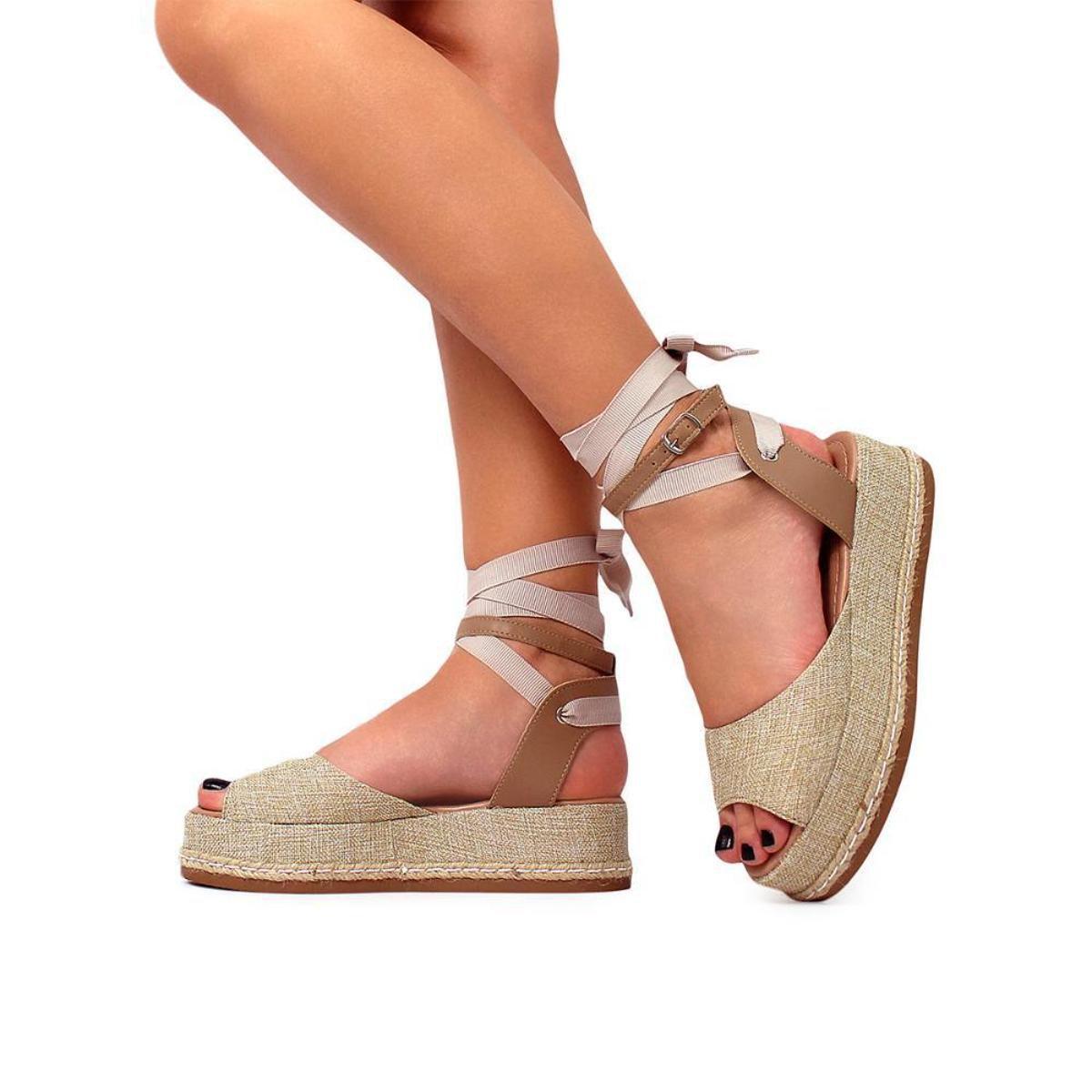 Sandália Damannu Shoes Juta Hannah Feminina - Bege