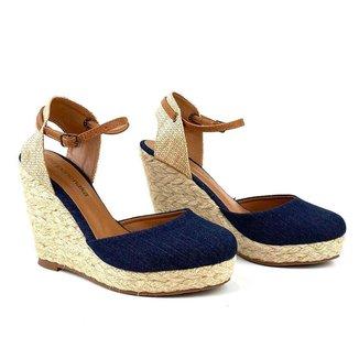 Sandália Emporionaka Anabela Jeans Feminina