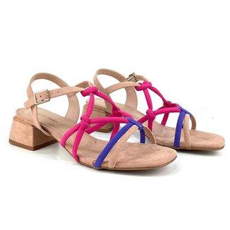 Sandália Emporionaka Tiras Salto Médio Multicolorido - Multicolorido - 40