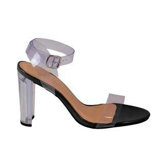 Sandália Fashionista E Elegante Transparente Via Marte Preta 19-16368