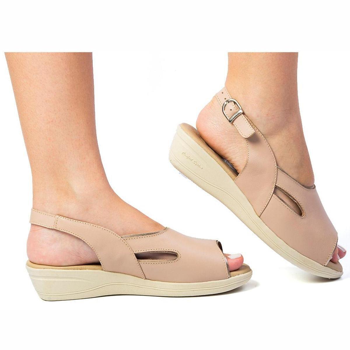 Feminina Anabela em 161 em Doctor Feminina Sandália Doctor 161 Nude Anabela Couro Couro Sandália Shoes anAqgc5