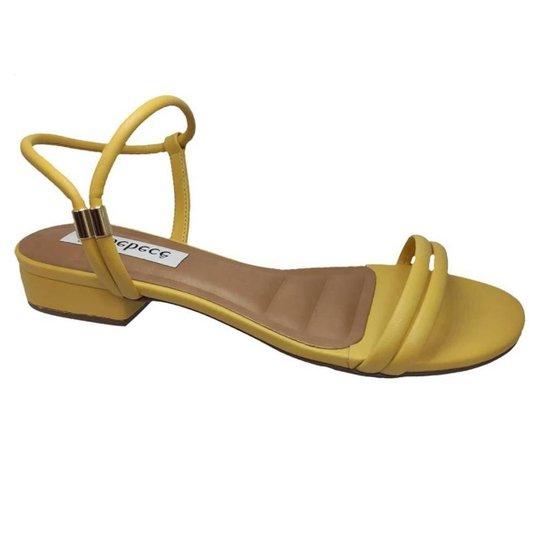 Sandalia Feminina Salto Baixo Bebecê T2521-360 - Amarelo