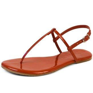Sandália Flat Básica Feminina Mercedita Shoes Verniz