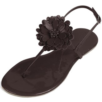 Sandália Flat Feminina Mercedita Shoes Verniz Com Flor