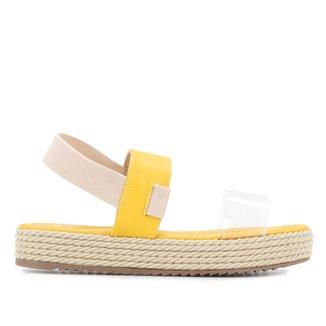 Sandália Flatform Shoestock Salto Baixo Vinil Corda Feminina
