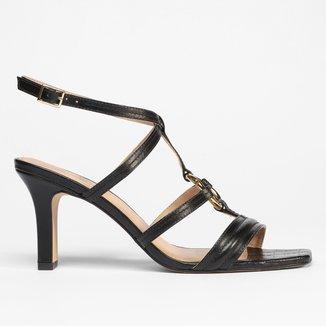 Sandália Gladiadora Shoestock Couro Argola Salto Alto