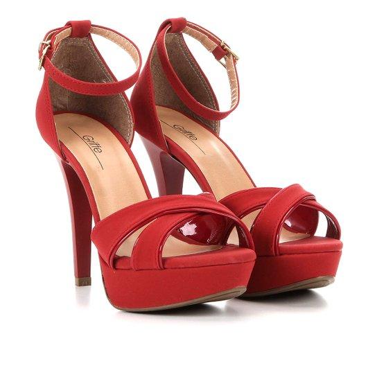 Sandália Griffe Meia Pata Tira Cruzada Salto Fino - Vermelho Escuro