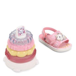 Sandália Infantil Disney Marie + Brinquedo Sensorial