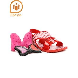 Sandália Infantil Para Menina - Disney + Brinde Rosa/vermelho
