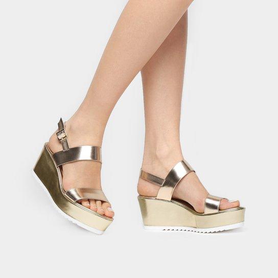 Sandália Jorge Alex Flat Form Metalizada - Dourado